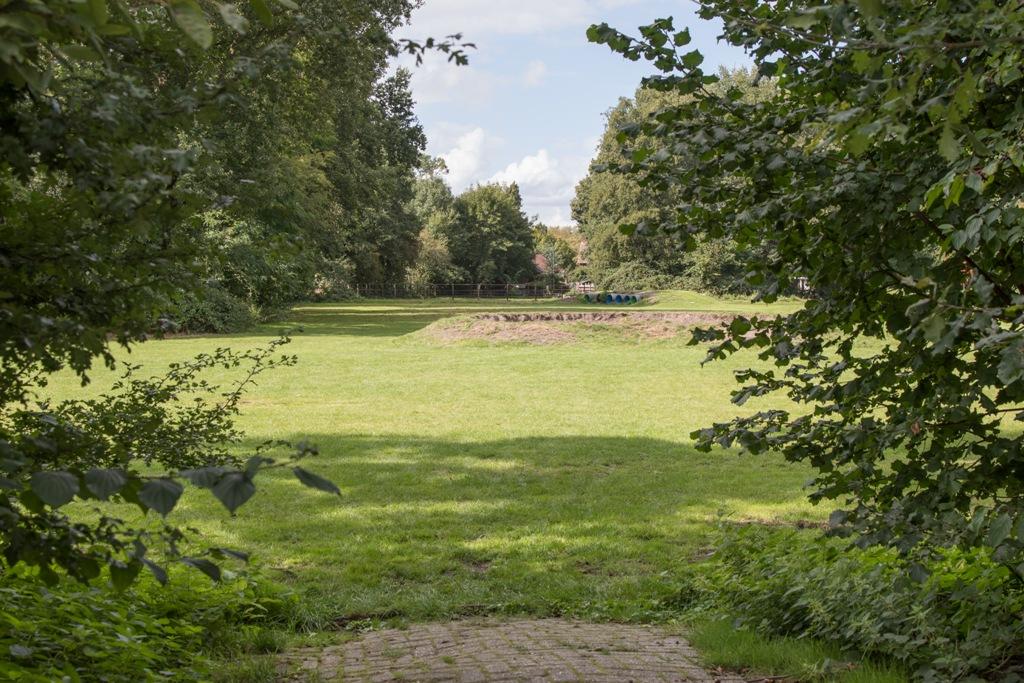 Grasveld met kampvuurkuil